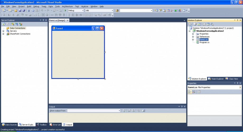 Как сделать окно в visual studio