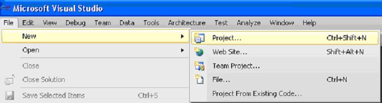 "Visual Studio команда ""File-New-Project..."" Вибір виду проекту"