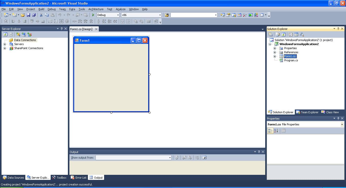 Visual Studio головна форма додатку режим проектування
