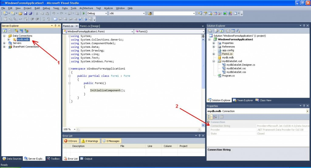 Visual Studio ConnectionString property