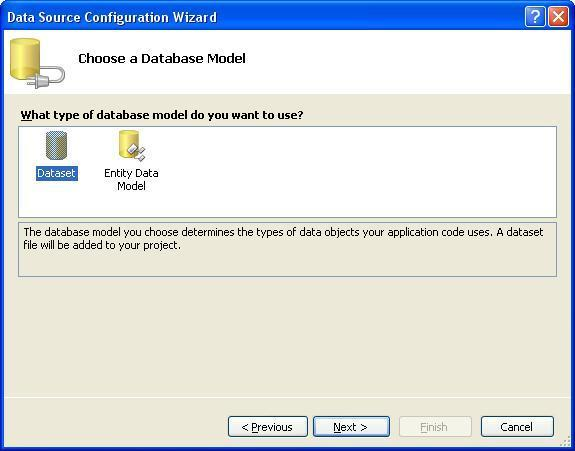 Visual Studio выбор модели подключения к базе данных