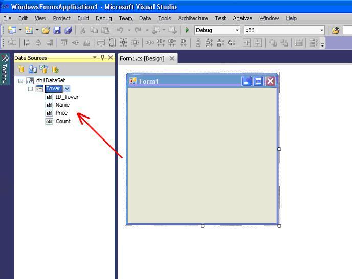 Visual Studio окно DataSources подключение база данных