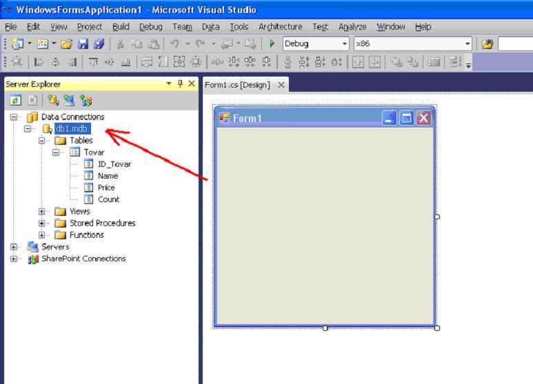 Visual Studio окно приложения панель Server Explorer