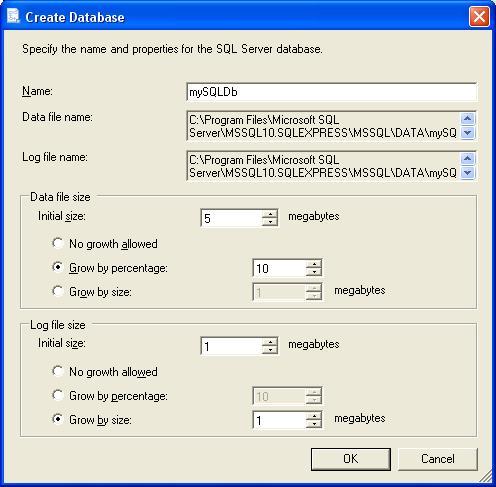 Visual Studio нова база даних MS SQL Server