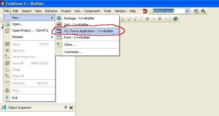 C++ Builder. Команда создания нового Windows-приложения