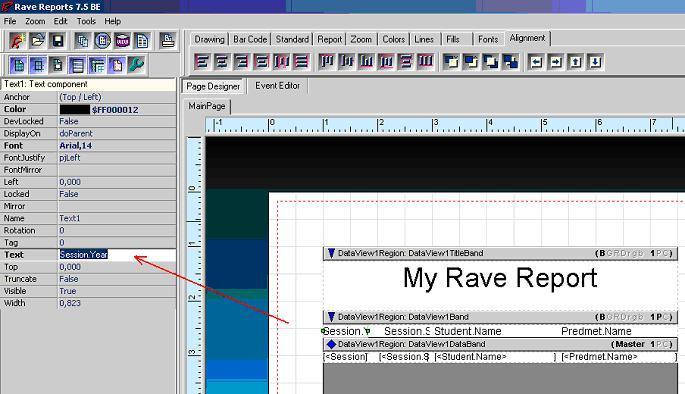 отчет Rave Report текст свойство