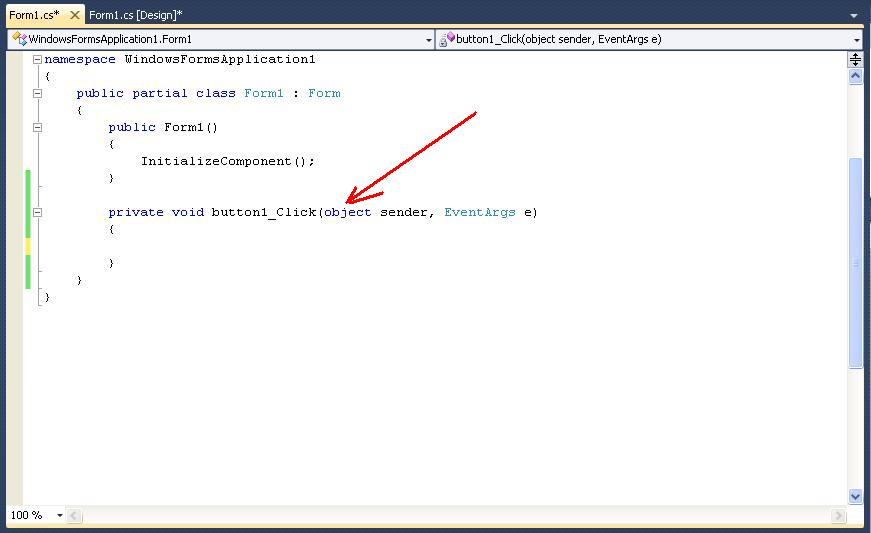 C# Windows Forms event handler click button
