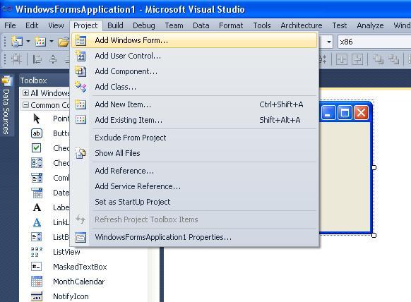 "Visual Studio C# команда ""Add Windows Form..."""