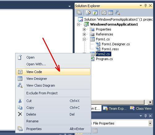 """Visual Studio C# Команда """"View Code"""""""