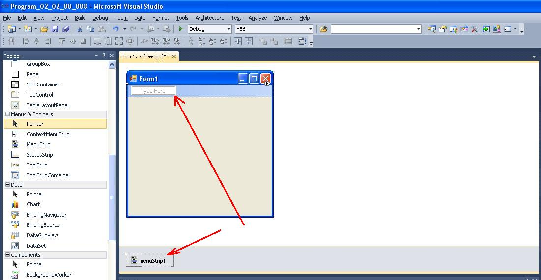 C#  Example of creating menu  Control MenuStrip | BestProg