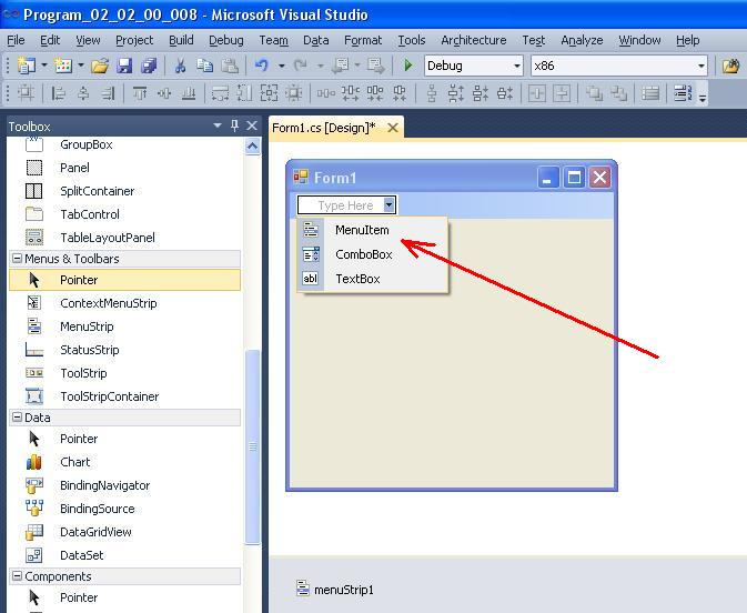 C#. Windows Forms. Типи елементів меню
