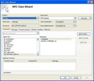 "Visual C++. Шаблон MFC Application. Окно ""MFC Class Wizard"""