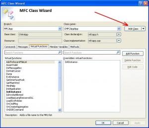 Visual C++. Шаблон MFC Application. Команда добавления нового класса