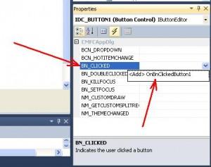 Visual C++. Шаблон MFC Application. Выбор события BN_CLICKED и вызов обработчика события OnBnClickedButton1