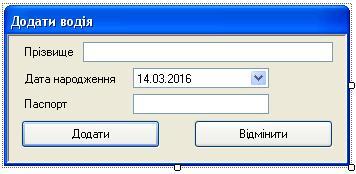 C# Windows Forms Форма додавання даних