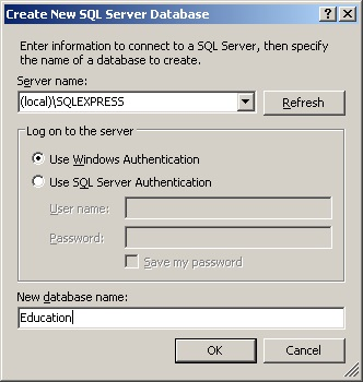 database SQL Server creating