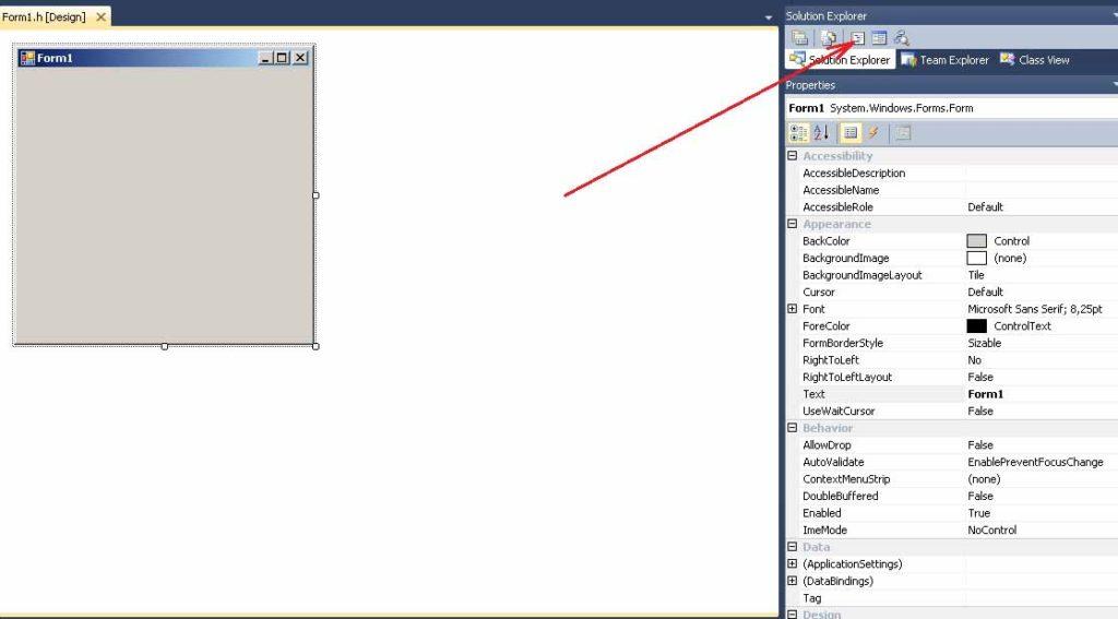 Visual C++. Шаблон Windows Forms. Кнопка перехода в режим набора текста программы