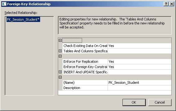 SQL Server властивість відношення таблиця