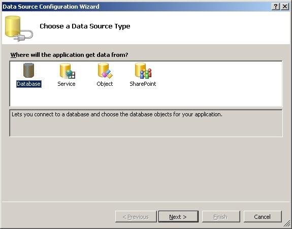 База даних MS Visual Studio тип джерело даних