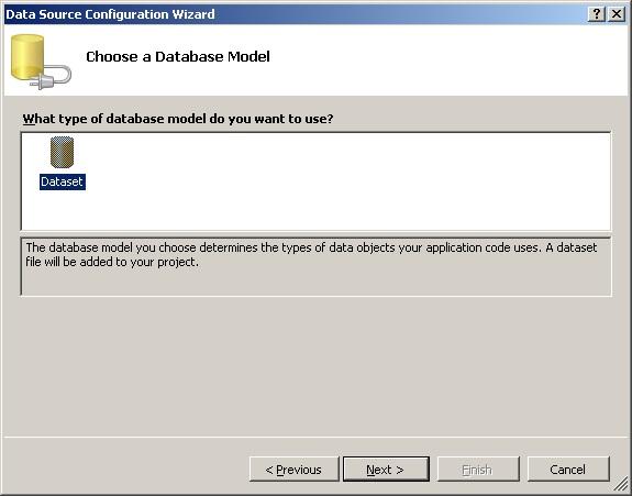 MS Visual Studio Вибір моделі джерела даних