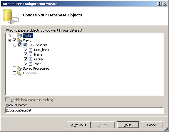 MS SQL Server об'єкти база даних dataGridView