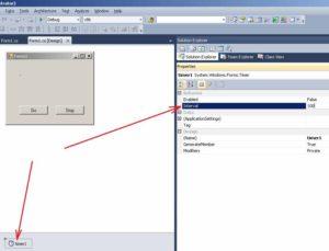 C# Windows Forms Властивість Interval елементу управління Timer