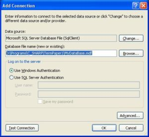 MS Visual Studio имя база данных