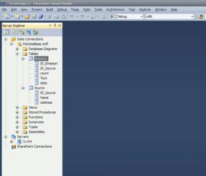 Server Explorer база даних