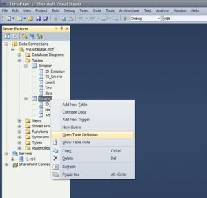 Visual Studio команда таблица определение