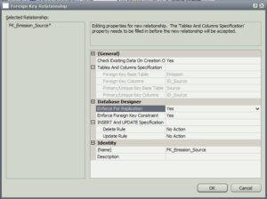 Visual Studio отношение таблица