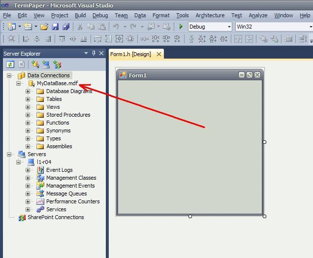 C# База данных MyDataBase.mdf окно Server Explorer