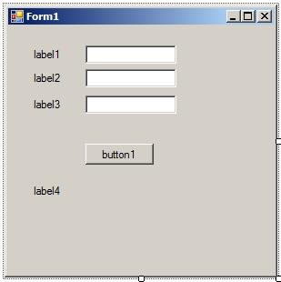 C# - Windows Forms. Форма додатку після розміщення елементів управління