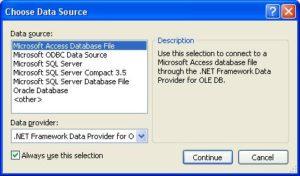 """Подключение базы данных. MS Visual Studio. Окно """"Choose Data Source"""""""