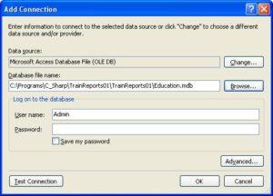Подключение базы данных в MS Visual Studio. Окно Add Connection