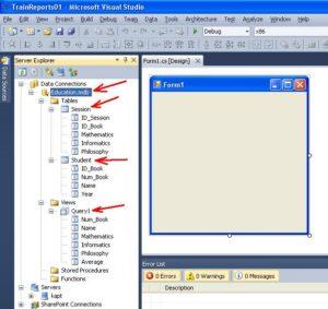 MS Visual Studio. Отображение содержимого базы данных Education.mdb в окне Server Explorer