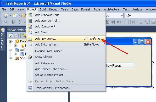 C# - Windows Forms. Команда Add New Item... з меню Project