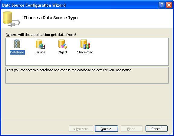 MS Visual Studio. Вибір джерела даних для звіту