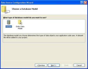 Подключение базы данных в MS Visual Studio. Выбор модели данных Dataset