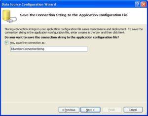 Окно с предложением сохранения строки Connection String в конфигурационном файле приложения