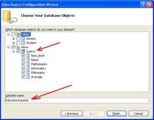 База данных Microsoft Access. Выбор объектов для отображения