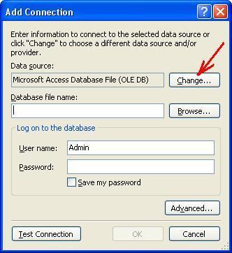 Вікно Add Connection. Вибір джерела даних