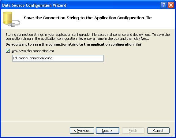 База даних SQL Server. Вікно збереження Connection String