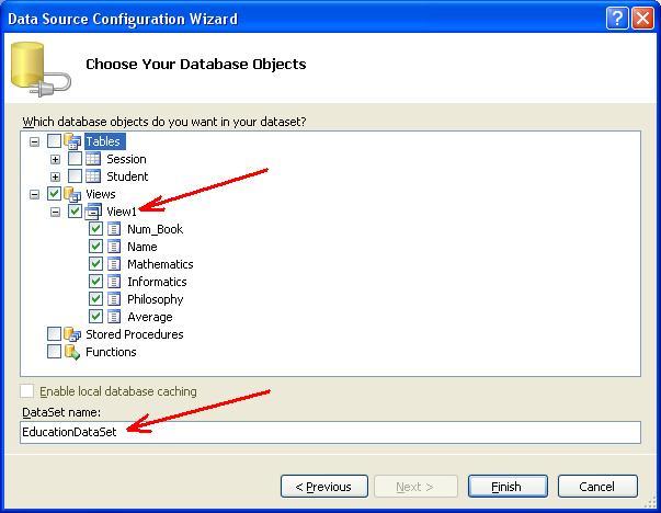 База даних MS SQL Server. Вікно Dataset Properties