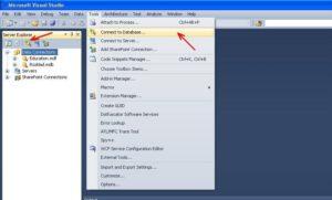 Visual Studio подключение базы данных команда