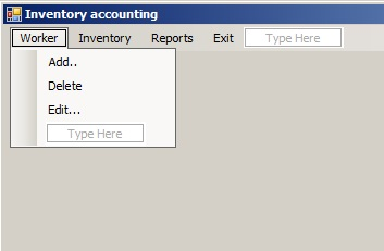 C# - Windows Forms. Перелік команд меню Worker