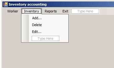 C# - Windows Forms. Перелік команд меню Inventory