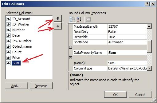 """C#. Елемент управління DataGridView. Розрахункове поле Sum у вікні """"Edit Columns"""""""