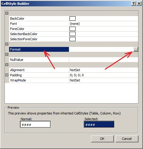 C# элемент управления dataGridView Окно CellStyleBuilder Свойство Format