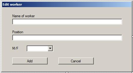 C# Windows Forms Окно редактирования информации о работнике