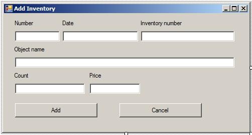 C# - Windows Forms. Вікно FormAddAccount.cs після налаштування